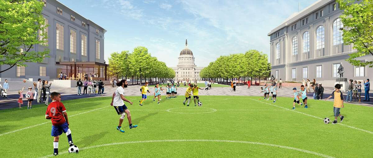 The conceptual redesign for Civic Center's public spaces proposed by the city's Planning Department would close one block of Fulton Street for traffic, replacing it in part with landscape spaces that could be handy for recreational activities.