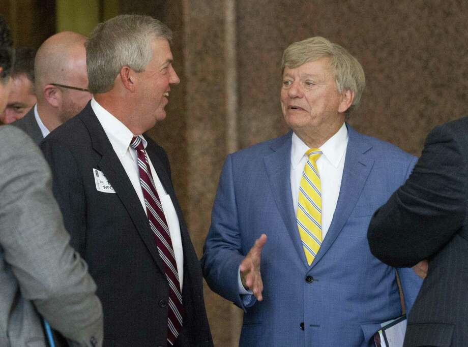 Houston defensive attorney Rusty Hardin, pictured with former Montgomery County Judge Craig Doyal, said he was not surprised the Texas Court of Criminal Appeals upheld the decision of a district court judge dismissing charges against Doyal, Precicnt 2 Commissioner Charlie Riley and political consultant Marc Davenport alleging they violated the Texas Open Meetings Act. Photo: Jason Fochtman, Staff Photographer / Houston Chronicle / The Advocate