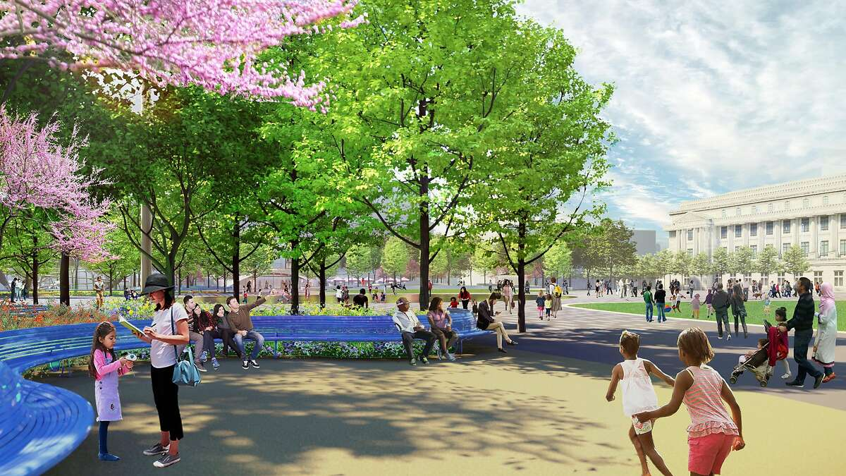 A rendering of a shaded bench-lined garden that would be added to Civic Center Plaza under a conceptual design proposed by the San Francisco Planning Department