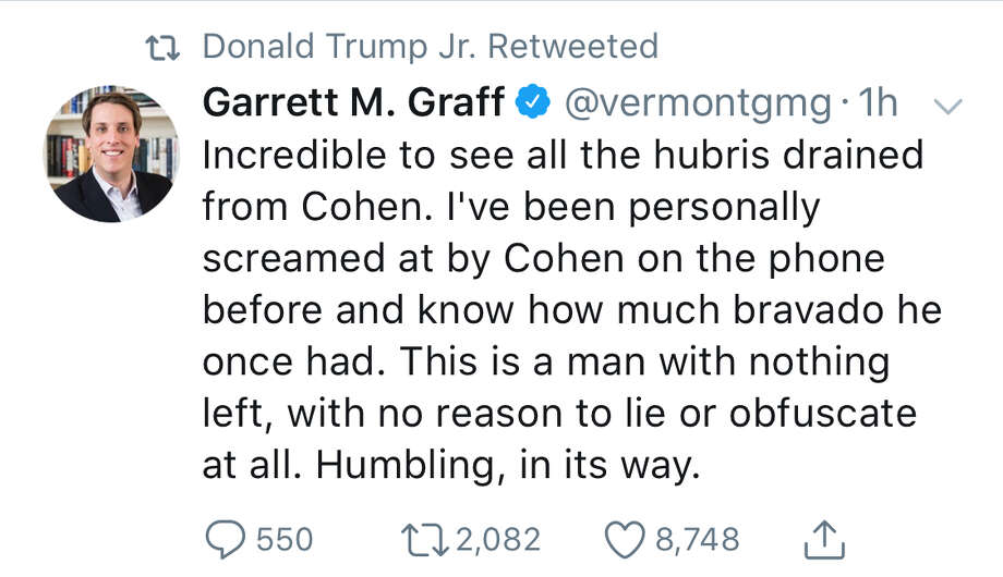 People were entertained when Donald Trump Jr. retweeted a tweet saying Michael Cohen was probably telling the truth. Photo: Screenshot Via Twitter