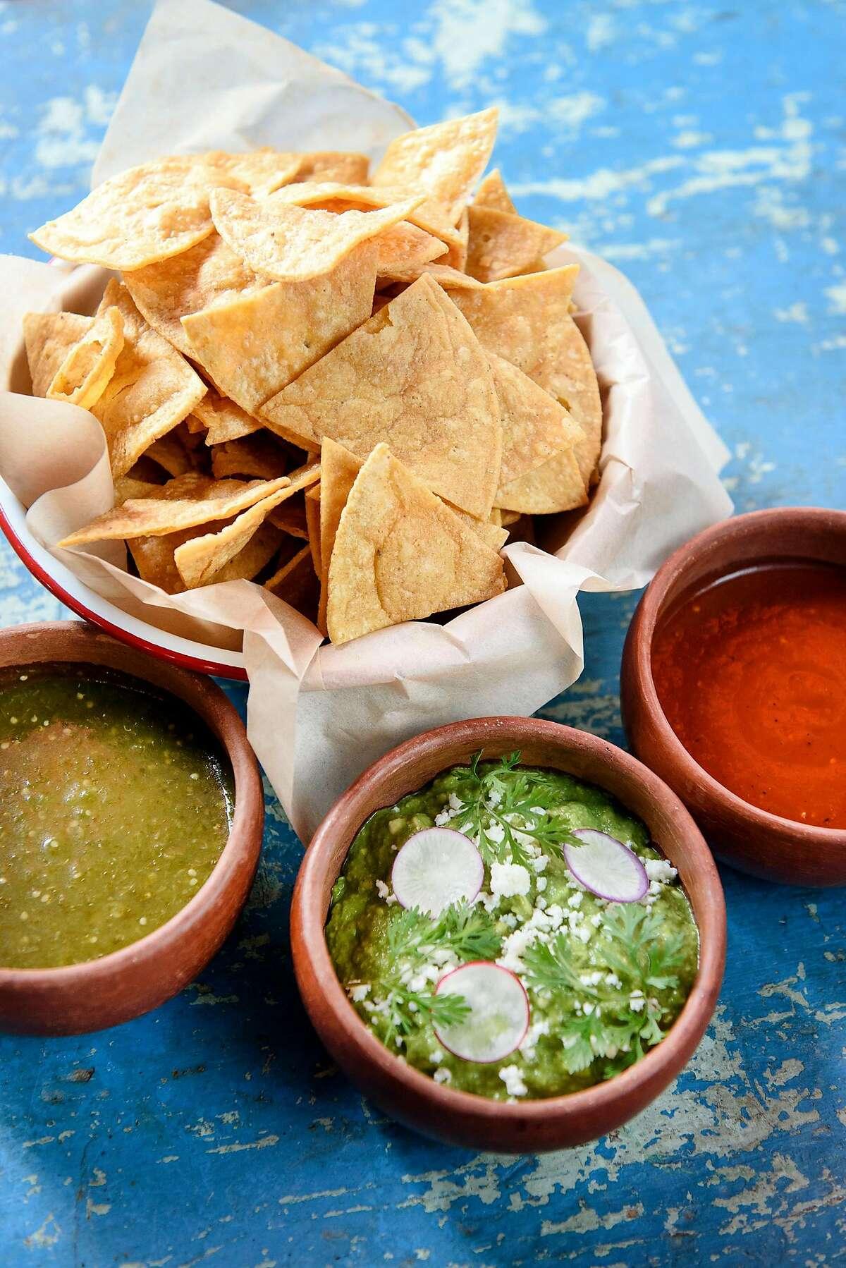 The Totopos, Guacamole y Salsa: tortilla chips, guacamole, salsa verde, salsa mixe, at La Calenda restaurant in Yountville, Calif., on Wednesday February 27, 2019.