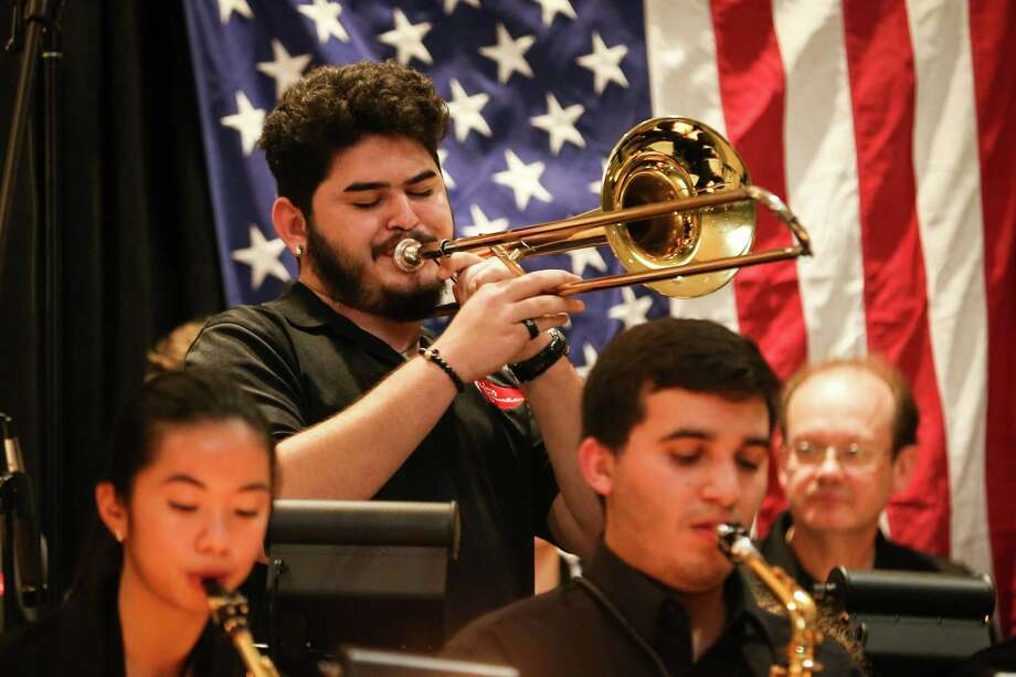 Members of the Jazz Connection perform during the Land of the Free Because of the Brave reception and fundraiser on Saturday, March 3, 2018, at the Lone Star Convention and Expo Center. Members of the Jazz Connection perform during the Land of the Free Because of the Brave reception and fundraiser on Saturday, March 3, 2018, at the Lone Star Convention and Expo Center. The group is hosting a fundraiser. Tickets cost only $25 each for the evening, titled Jazz and All That. It's in NorthMontgomery County Community Center, 600 Gerald St. in Willis from 7 to 10 p.m. Friday, Aug. 9. But it offers more than big band music from the 1940s, '50s, and maybe a few more recent. Photo: Michael Minasi, Staff Photographer / Houston Chronicle / © 2017 Houston Chronicle
