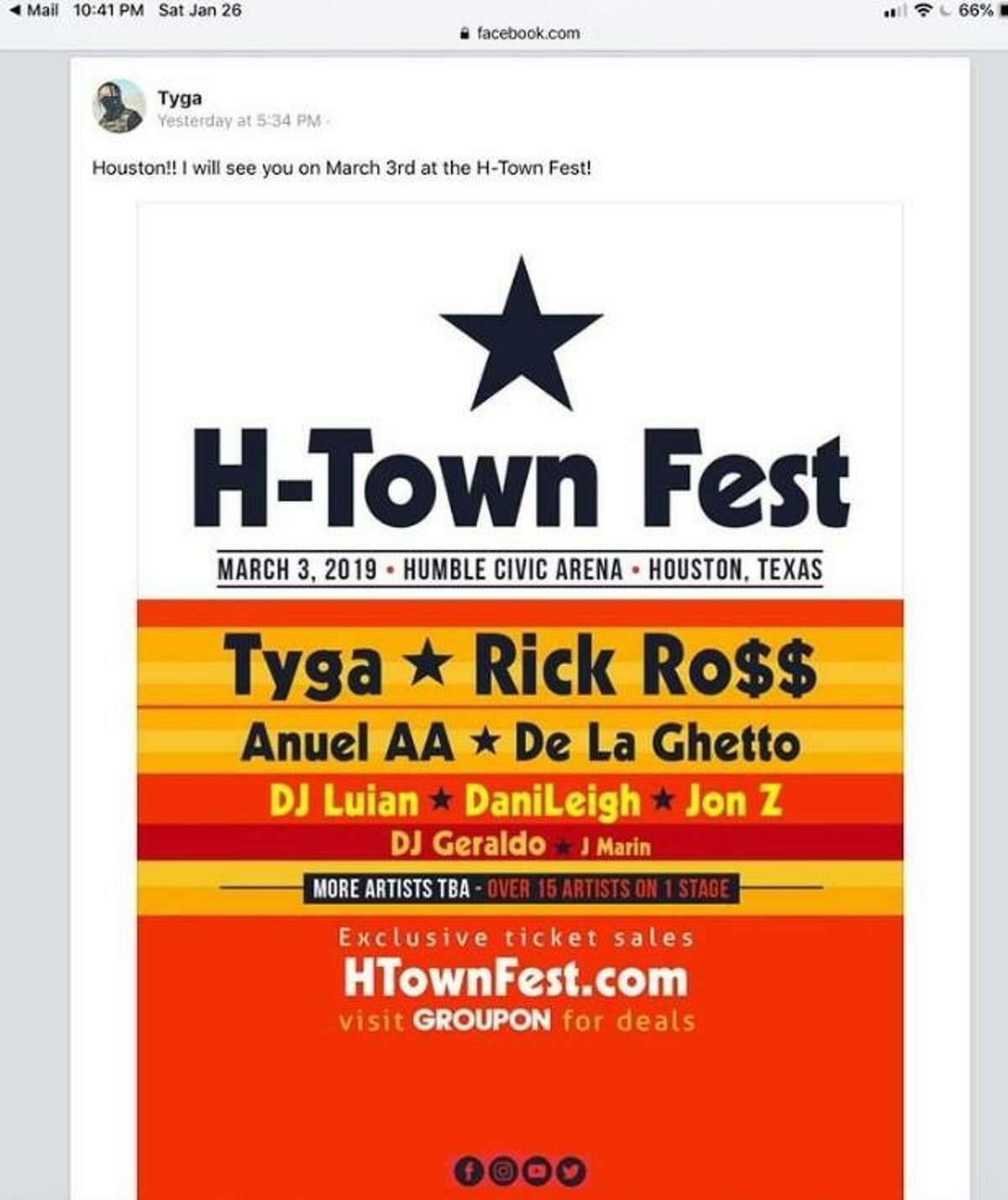 Tyga's reference to H-Town Fest is still visible on the organizers' Facebook page as well as the performer's.