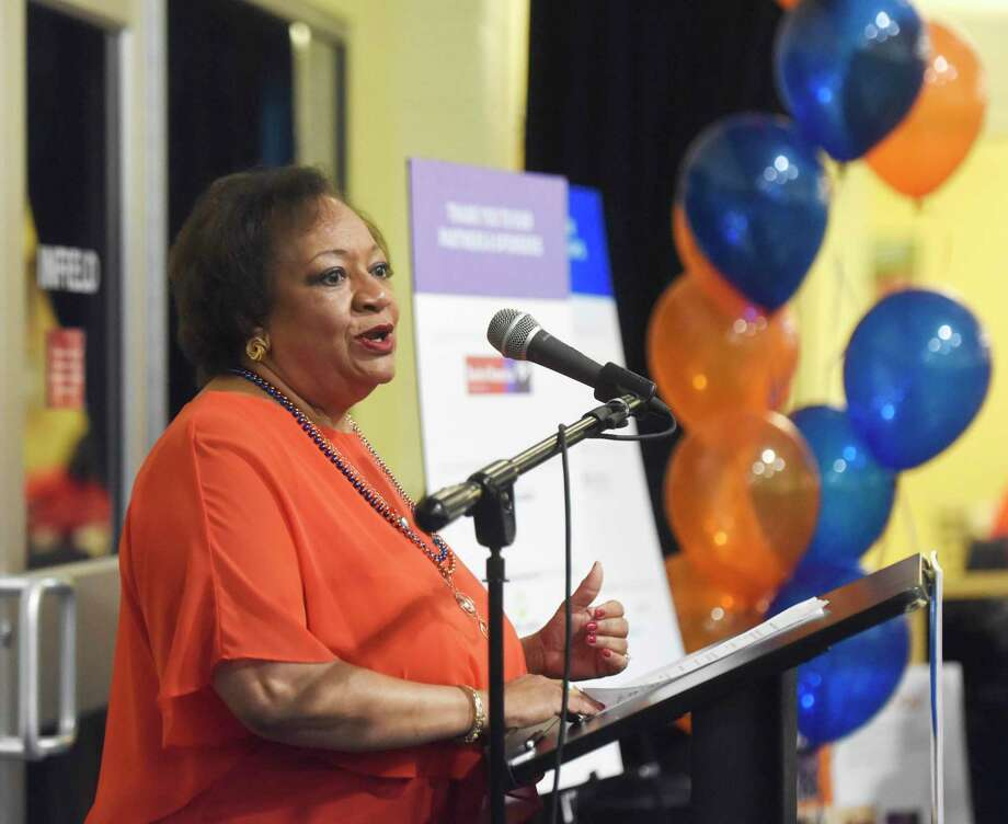 Fairfield County's Community Foundation President and CEO Juanita James speaks at the kickoff for Fairfield County's Giving Day in 2018. Photo: Tyler Sizemore / Hearst Connecticut Media / Greenwich Time