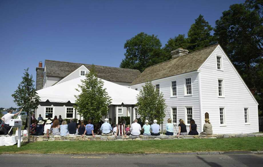Attendees gather at the Founders' Day celebration at the Feake-Ferris House in Old Greenwich in 2018. The event, which commemorates the founding of Greenwich on July 18, 1640, will take place on Thursday, July 18. Photo: Hearst Connecticut Media File Photo / Greenwich Time