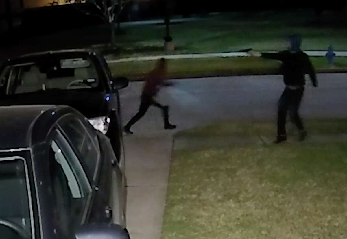 Detectives are searching for three suspects accused of trying to break into several cars in northwest Harris County on Sunday, Feb. 24, 2019.