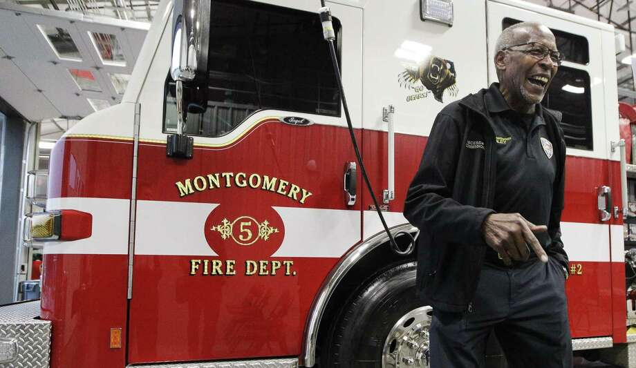 James Sibley, vice president of Emergency Service District No. 2, shares a laugh during the grand opening of Montgomery Fire Department's fire Station No. 52, Tuesday, Feb. 26, 2019, in Montgomery. The new facility on Keenan Cutoff Road spans more than 8,200 square feet and is a collaboration between Emergency Service District No. 2 and No. 3. Photo: Jason Fochtman, Houston Chronicle / Staff Photographer / © 2019 Houston Chronicle