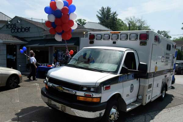 A GEMS ambulance is parked outside for the Greenwich Emergency Medical Service (GEMS) fundraiser at Caren's Cos Cobber in the Cos Cob section of Greenwich, Conn. Wednesday, May 30, 2018.