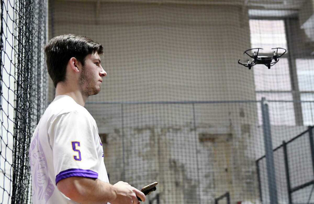 UAlbany senior Matt Liguori flies a drone during an open house for the new two-story drone flight facility on Wednesday, Feb. 27, 2018 at UAlbany's Page Hall in Albany, NY. (Phoebe Sheehan/Times Union)