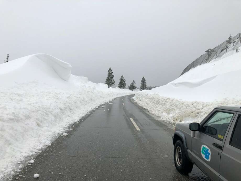 I-80 near the Yuba Gap flanked by snow on Feb. 27, 2019. Photo:  Caltrans District 3 ‏