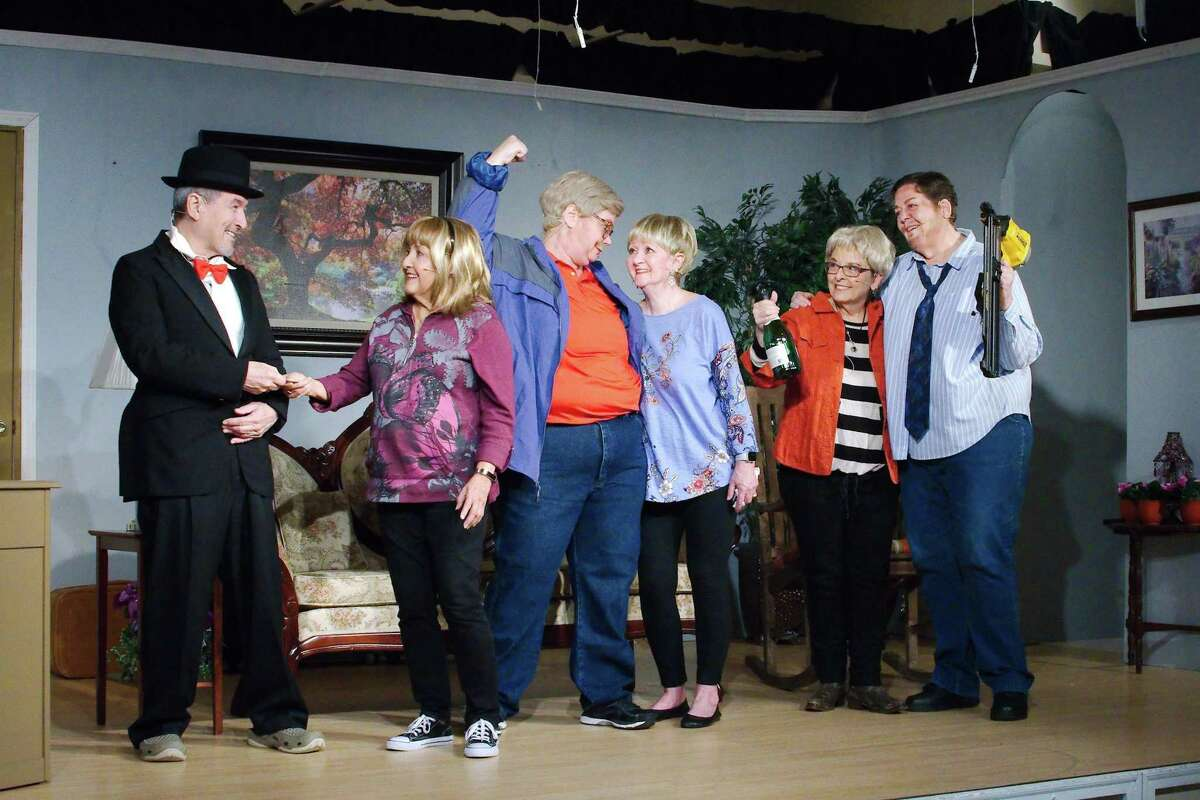 """Bobby Montalvo, left, is the only male performer in """"Let Him Sleep 'Til It's Time for His Funeral,"""" which will be on stage March 8-10 in Pearland's Country Place community. Also in the cast are: Sue Martinez, Nyna Huitt, Eddie Young, Sandra Gumina and Jeannie Smith. Explaining the lack of men for roles in the production, director Barbara Gibbons says that potential actors for those parts were """"busy playing golf."""""""
