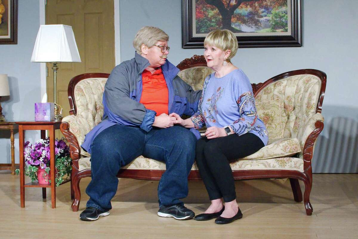 """Nyna Huitt and Eddie Young rehearse a scene from """"Let Him Sleep 'Til It's Time for His Funeral"""" at Pearland's Country Place community."""