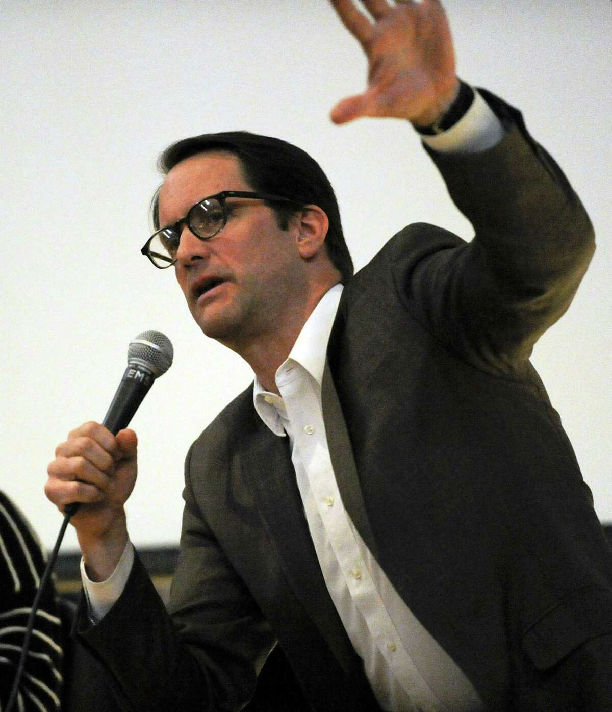 Representative Jim Himes (D-CT 4th District) speaks to Greenwich Indivisible about new policy agendas on Thursday, Feb. 21, 2019 in Greenwiich, Connecticut.