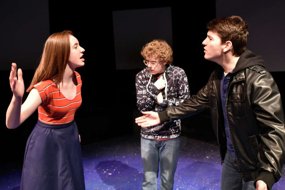 "Christopher (Chris Cheek) is caught in the middle of an argument between Judy (Avery Struble) and Ed (Jonah Thacher) during rehearsal Feb. 26, 2019, for the upcoming Pickwick Players show titled ""The curious incident of the dog in the night-time"" which will be presented at Midland Community Theater March 1-23. James Durbin/Reporter-Telegram Photo: James Durbin / ? 2018 Midland Reporter-Telegram. All Rights Reserved."