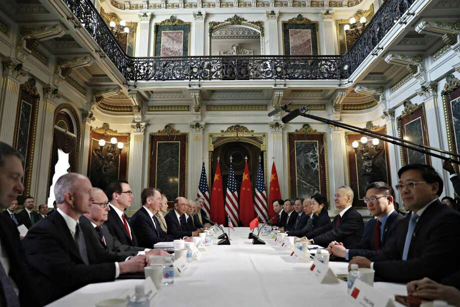 The U.S. and Chinese delegations meet in Washington last week. President Donald Trump is learning that business negotiations are quite different from negotiations between nations. Photo: Jacquelyn Martin /Associated Press / Copyright 2019 The Associated Press. All rights reserved.