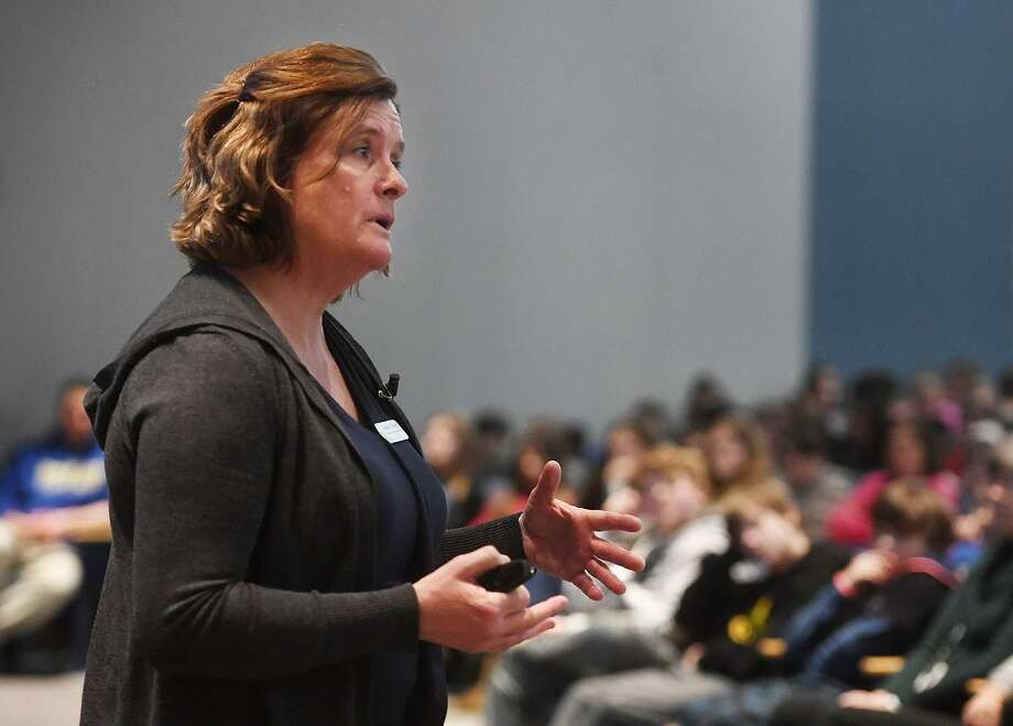 Sandy Hook Promise presenter Laura Cleary of Monroe presents the group's Say Something youth violence prevention program to students at Seymour Middle School Wednesday. Photo: Brian A. Pounds / Hearst Connecticut Media / Connecticut Post
