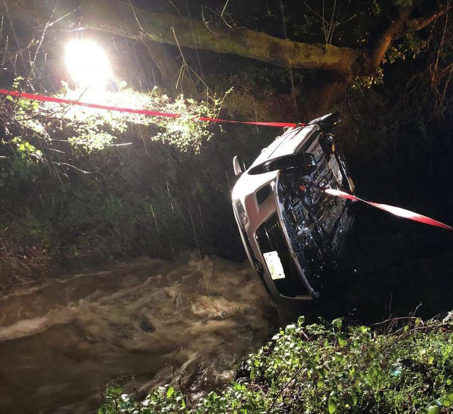 The Marin County Sherriff's Department responded to an overturned vehicle in a ditch off Lucas Valley Road on Feb. 25, 2019 Photo: Marin County Sherriff's Department