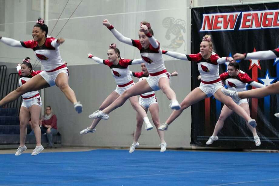 The Greenwich High School cheerleading team won the New England Cheerleading Association co-ed title on Saturday. Photo: Anke Judice / Contributed Photo / Greenwich Time Contributed