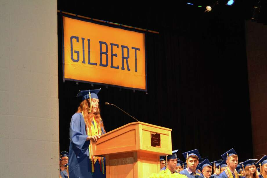 Graduation ceremonies at The Gilbert School in 2018. Photo: Leslie Hutchison / Hearst Connecticut Media
