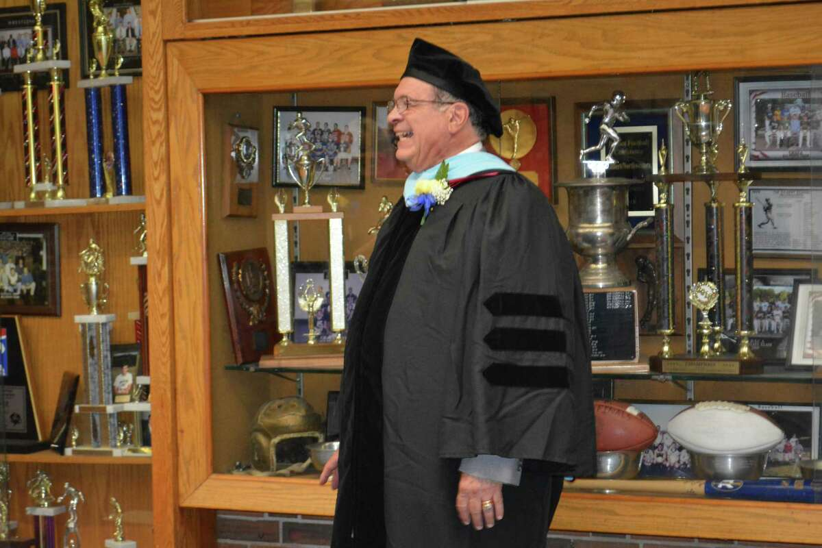 The Gilbert School Superintendent Anthony Serio at the 2018 graduation.
