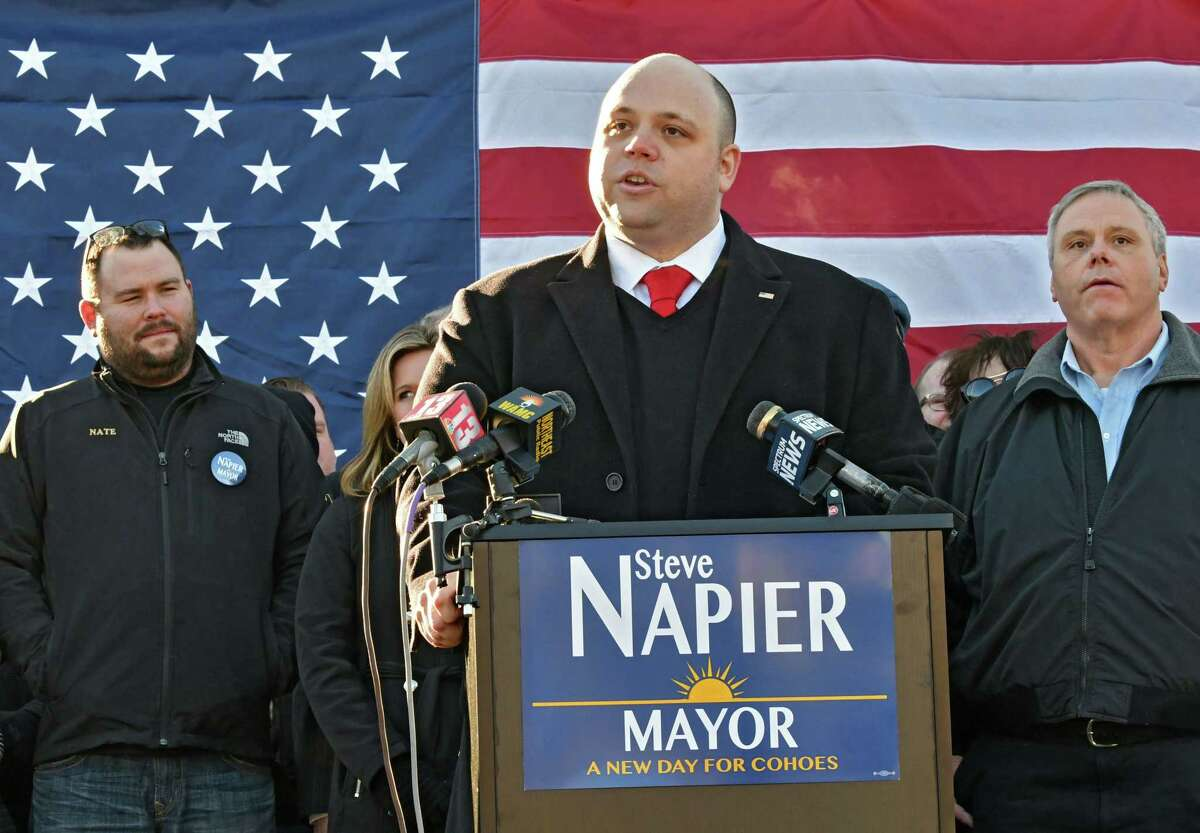 Steve Napier announces his run for Cohoes mayor on Monday Jan. 28, 2019 in Cohoes, N.Y. (Lori Van Buren/Times Union)