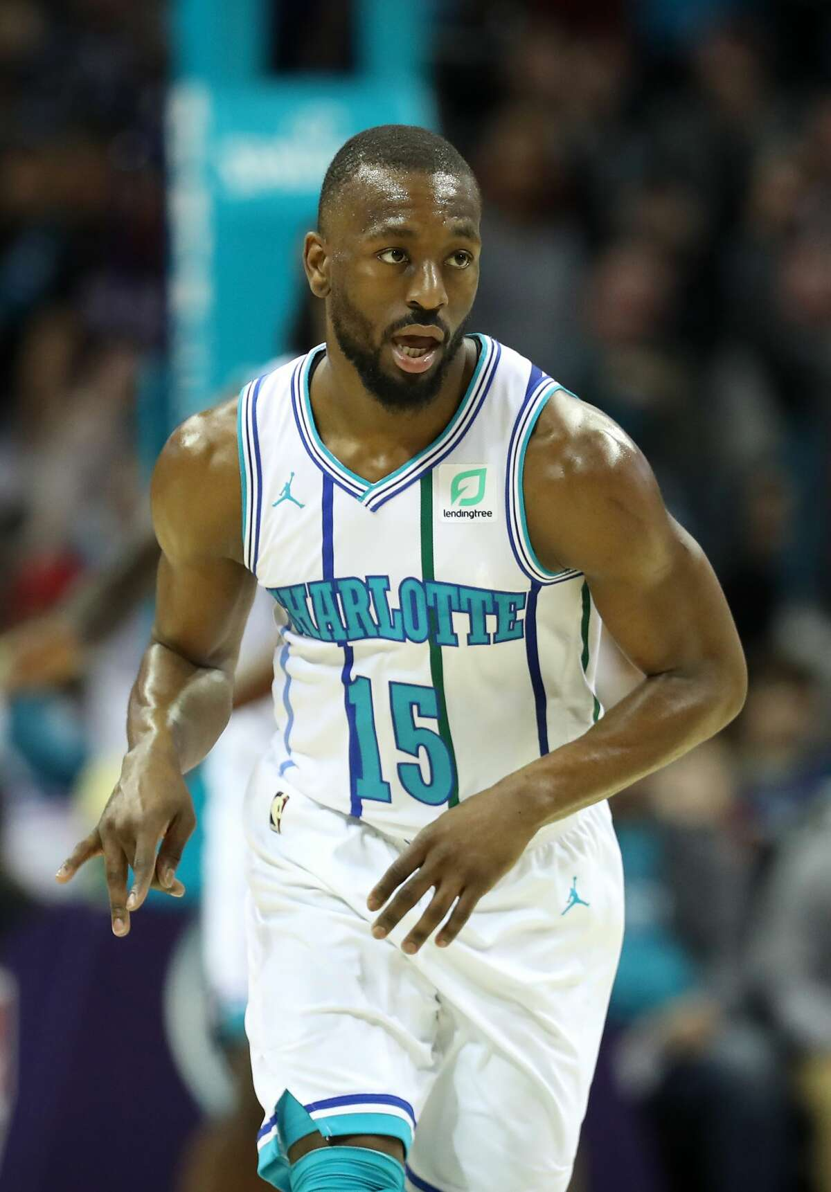 CHARLOTTE, NORTH CAROLINA - FEBRUARY 27: Kemba Walker #15 of the Charlotte Hornets reacts during their game against the Houston Rockets at Spectrum Center on February 27, 2019 in Charlotte, North Carolina. NOTE TO USER: User expressly acknowledges and agrees that, by downloading and or using this photograph, User is consenting to the terms and conditions of the Getty Images License Agreement. (Photo by Streeter Lecka/Getty Images)