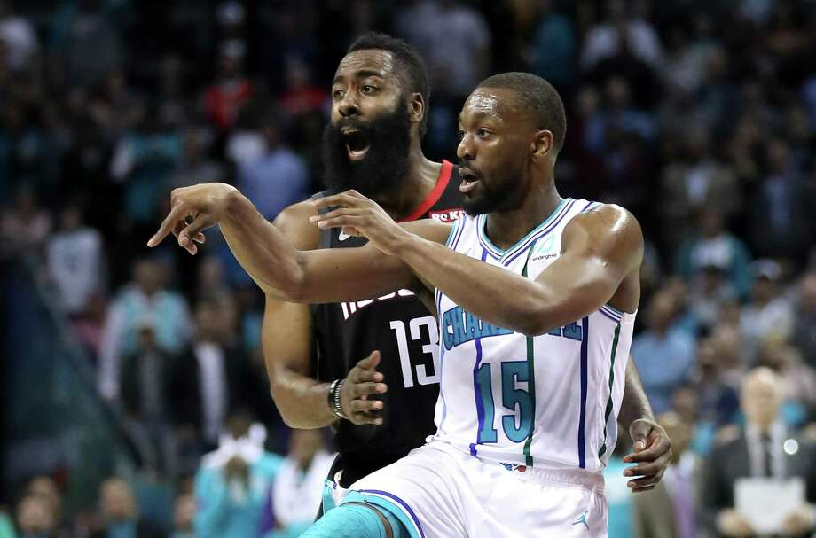 CHARLOTTE, NORTH CAROLINA - FEBRUARY 27: James Harden #13 of the Houston Rockets reacts against Kemba Walker #15 of the Charlotte Hornets during their game at Spectrum Center on February 27, 2019 in Charlotte, North Carolina. NOTE TO USER: User expressly acknowledges and agrees that, by downloading and or using this photograph, User is consenting to the terms and conditions of the Getty Images License Agreement. (Photo by Streeter Lecka/Getty Images) Photo: Streeter Lecka, Staff / Getty Images / 2019 Getty Images
