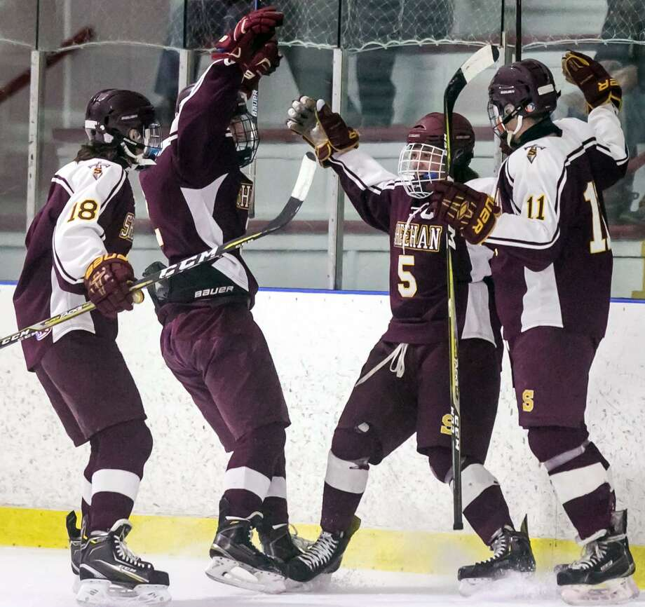Sheehan teammates celebrate a goal by Jake Festa (5) during the SCC tournament semifinal against Hand on Feb. 27. Photo: John Vanacore / For Hearst Connecticut Media / Stamford Advocate Freelance