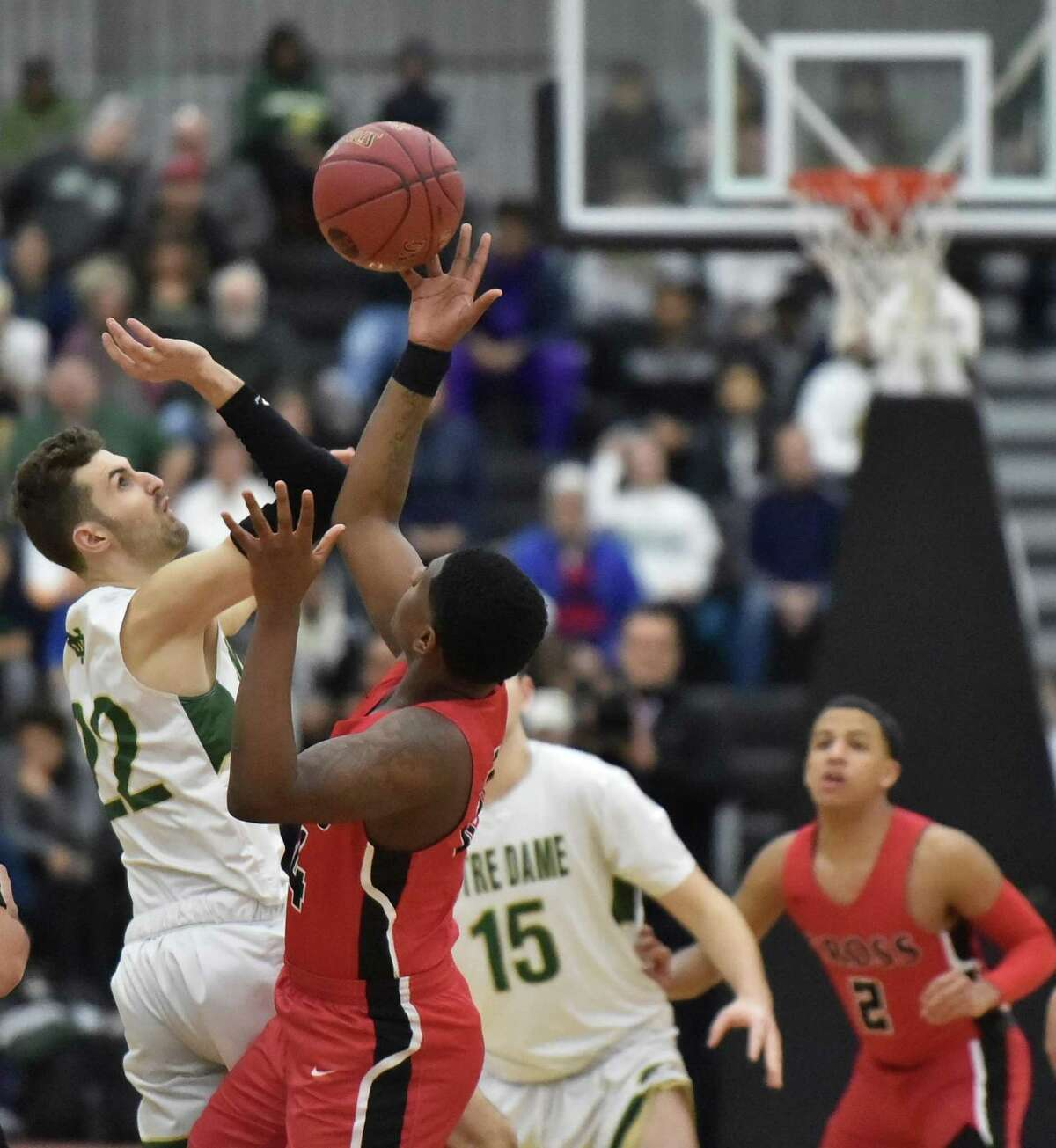 New Haven, Connecticut -Wednesday, February 27, 2019: Notre Dame H.S. of West Haven vs. Wilbur Cross H.S. of New Haven SCC Boys Basketball Championship final Wednesday evening at the Floyd Little Athletic Center in New Haven