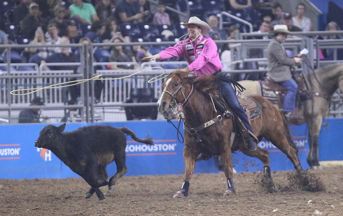 Tyson Durfey competed in the Steer Wrestling competition during Super Series I Round 3 of the Houston Livestock Show and Rodeo at NRG Stadium Wednesday, Feb. 27, 2019, in Houston.