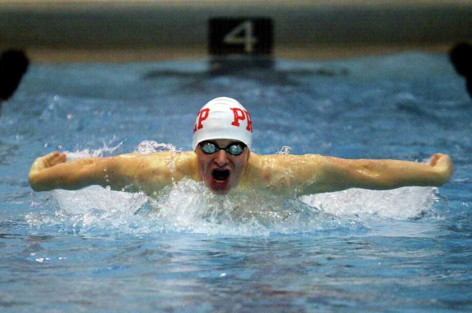 Fairfield Prep's Richard Nolan competes in the 200 yard IM during SCC swimming championship action at Southern Connecticut State University in New Haven, Conn., on Wednesday Feb. 27, 2018. Photo: Christian Abraham / Hearst Connecticut Media / Connecticut Post