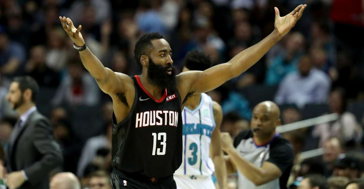CHARLOTTE, NORTH CAROLINA - FEBRUARY 27: James Harden #13 of the Houston Rockets reacts after a play against the Charlotte Hornets during their game at Spectrum Center on February 27, 2019 in Charlotte, North Carolina. NOTE TO USER: User expressly acknowledges and agrees that, by downloading and or using this photograph, User is consenting to the terms and conditions of the Getty Images License Agreement. (Photo by Streeter Lecka/Getty Images)