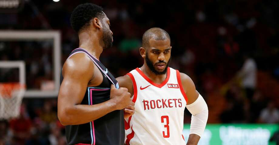 PHOTOS: Rockets game-by-game Dwyane Wade #3 of the Miami Heat and Chris Paul #3 of the Houston Rockets look on during the first half at American Airlines Arena on December 20, 2018 in Miami, Florida. (Photo by Michael Reaves/Getty Images) Browse through the photos to see how the Rockets have fared in each game this season. Photo: Michael Reaves/Getty Images