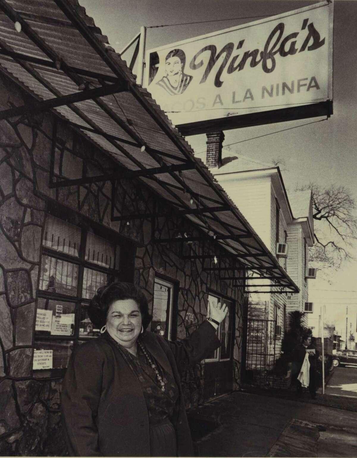 Mama Ninfa Laurenzo in front of her restaurant about 1974. (Photo: Courtesy Phyllis Mandola)