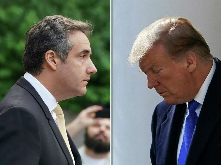 "This combination of pictures created on February 26, 2019 shows Michael Cohen (L), former personal lawyer for US President Donald Trump, leaving federal court on August 21, 2018, in New York and US President Donald Trump (R) arriving to deliver remarks in the Rose Garden at the White House in Washington, DC on February 15, 2019. - Donald Trump's former personal lawyer and fixer Michael Cohen will tell Congress Wednesday February 27, 2019 that the president is a ""racist"" and ""conman"" and knew in advance that WikiLeaks would publish dirt on Hillary Clinton, US media reported. Photo: DON EMMERT / AFP /Getty Images / AFP"