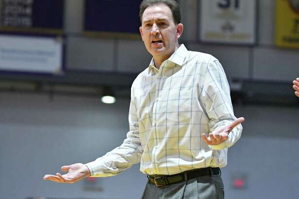 University at Albany head coach Will Brown reacts to a call during a basketball game against New Hampshire at SEFCU Arena on Wednesday, Feb. 27, 2019 in Albany, N.Y. (Lori Van Buren/Times Union)