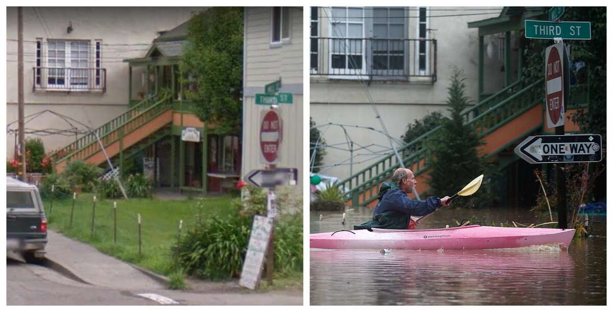 Third Street at Mill Street, Guerneville Left: The location in 2016 Right: A resident of Guerneville paddles through this neighborhood after it was flooded by the Russian River on Feb. 27, 2019.