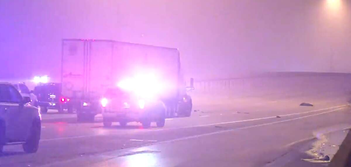 A man was killed while trying to cross the Katy Freeway early Thursday following a crash, police said.