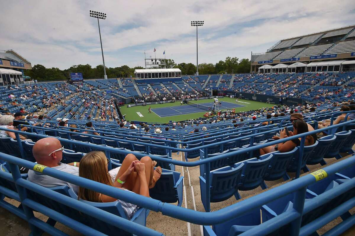 Czech's Andrea Sestini Hvalackova and Barbora Strycova vs. Taiwan's Su-Wei Hsieh and Germany's Laura Siegemund on Stadium Court Saturday, August 25, 2018, in the championship match at the Connecticut Open at the Connecticut Tennis Center at Yale in New Haven.