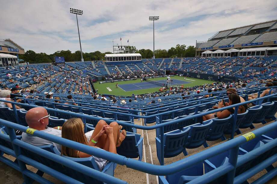 Czech's Andrea Sestini Hvalackova and Barbora Strycova vs. Taiwan's Su-Wei Hsieh and Germany's Laura Siegemund on Stadium Court Saturday, August 25, 2018, in the championship match at the Connecticut Open at the Connecticut Tennis Center at Yale in New Haven. Photo: Catherine Avalone / Hearst Connecticut Media / New Haven Register