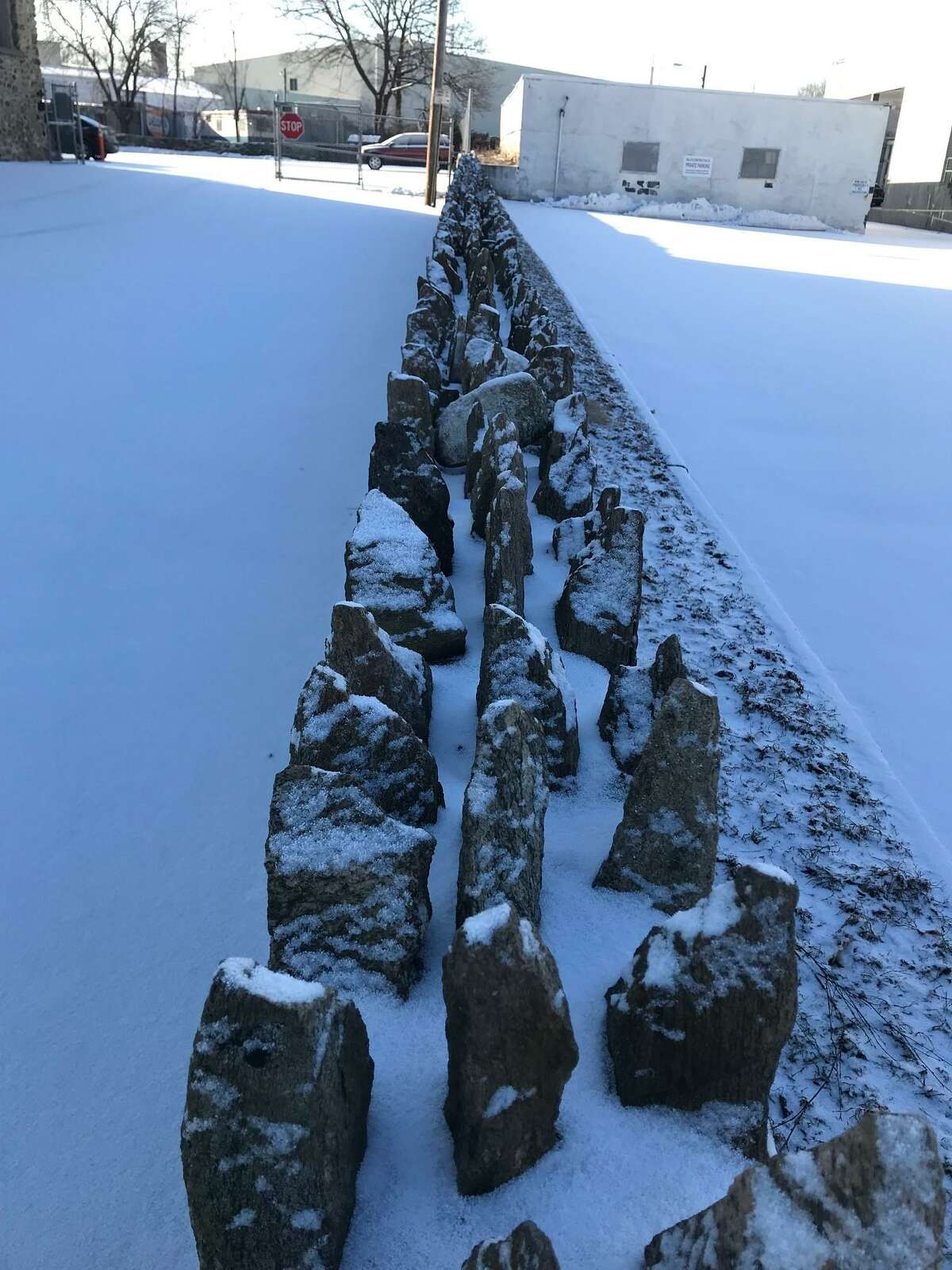 A stone wall dusted with snow at the Glenbrook Community Center in Stamford on Thursday, Feb. 28, 2019. About a half-inch of snow fell overnight.
