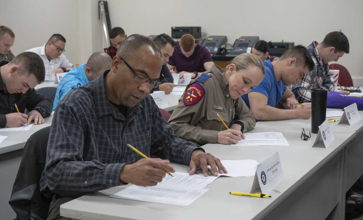 Area law enforcement complete a test on Feb. 28 during a three-day workshop for the Texas Breath Alcohol Testing Program as part of workforce training classes offered at the Midland College Advanced Technology Center.