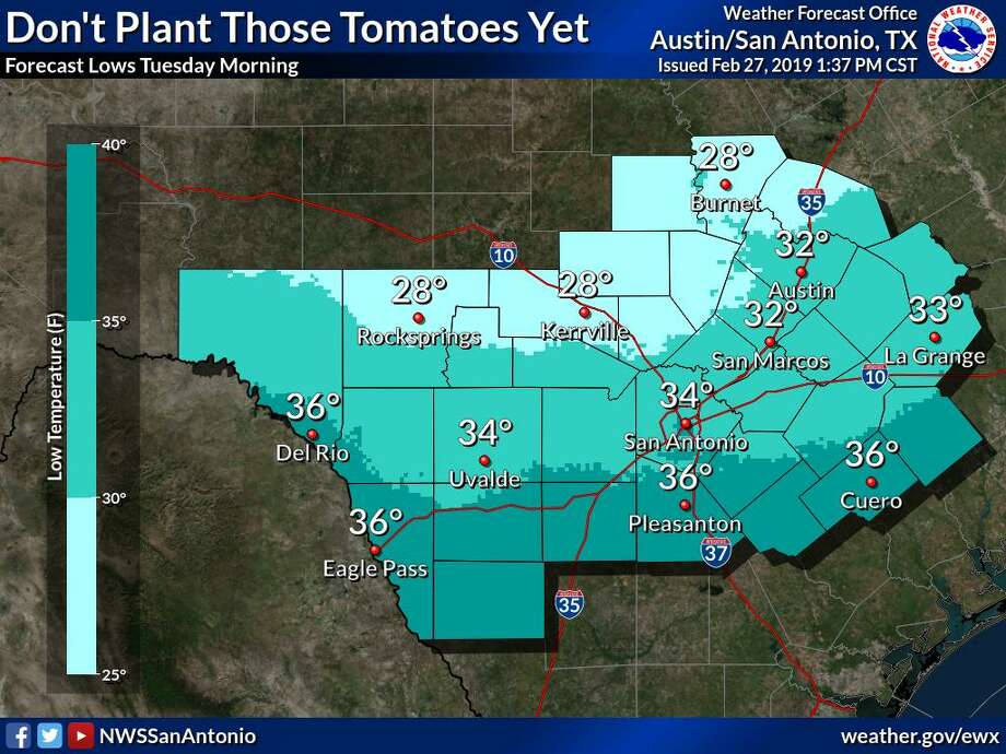 A strong cold front is expected to move into the San Antonio area on Sunday, dropping temperatures and allowing a potential freeze during the first week of March 2019. Photo: National Weather Service