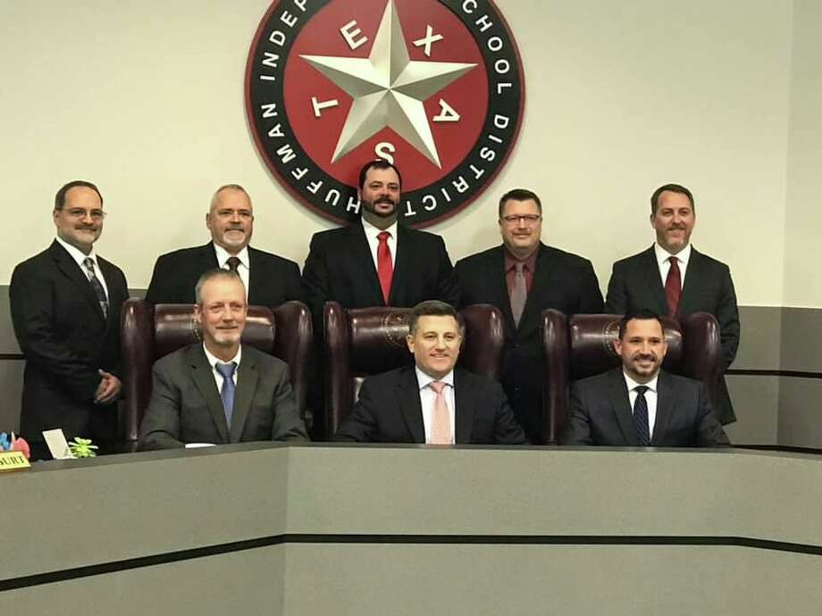 The Huffman ISD Board of Trustees for 2019 with Huffman ISD superintendent Benny Soileau (front, center) >>What the flooding looked like on May 8, 2019 Photo: Huffman ISD Facebook Page
