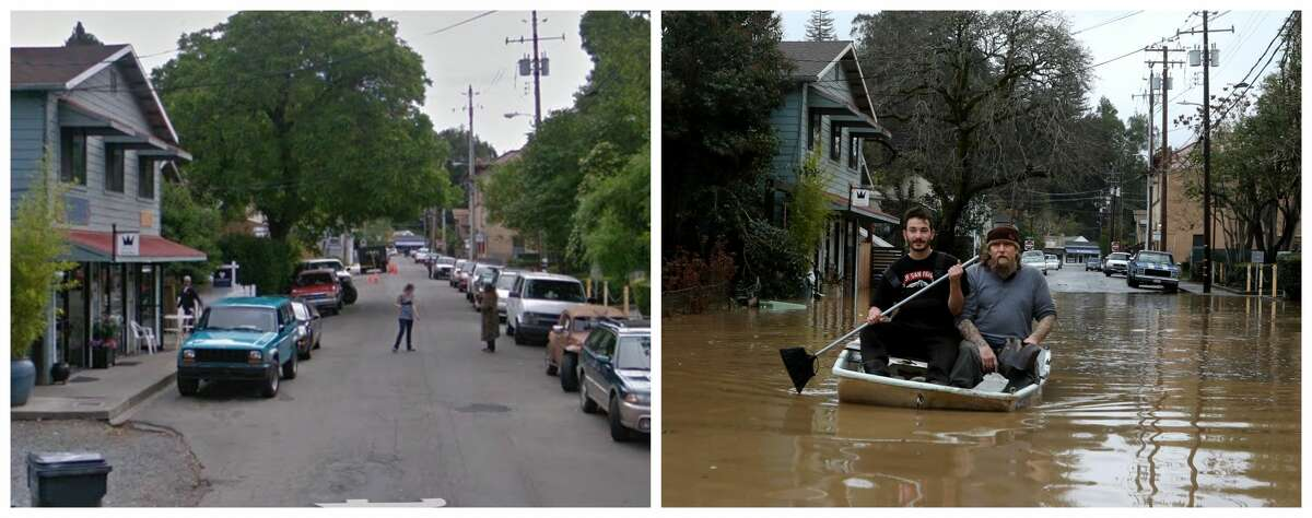Third Street, Guerneville Left: Third Street on a typical day in 2016 Right: Jonathan Von Renner, Jr., with an unidentified friend, uses a broom for an oar while paddling through the flooded streets of Guerneville, California, after the Russian River flooded the town on Feb. 26, 2019.