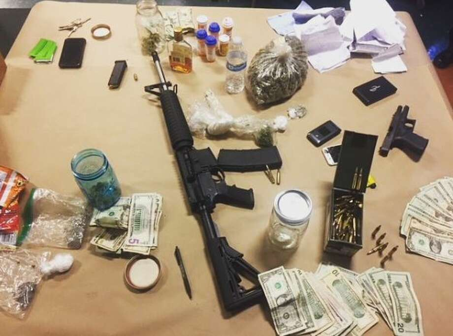 Marin County Sheriffs say they found all of these items inside the vehicle of Frank Deedywoo Garcia-Calloway, 20, of San Pablo. Photo: Marin County Sheriff