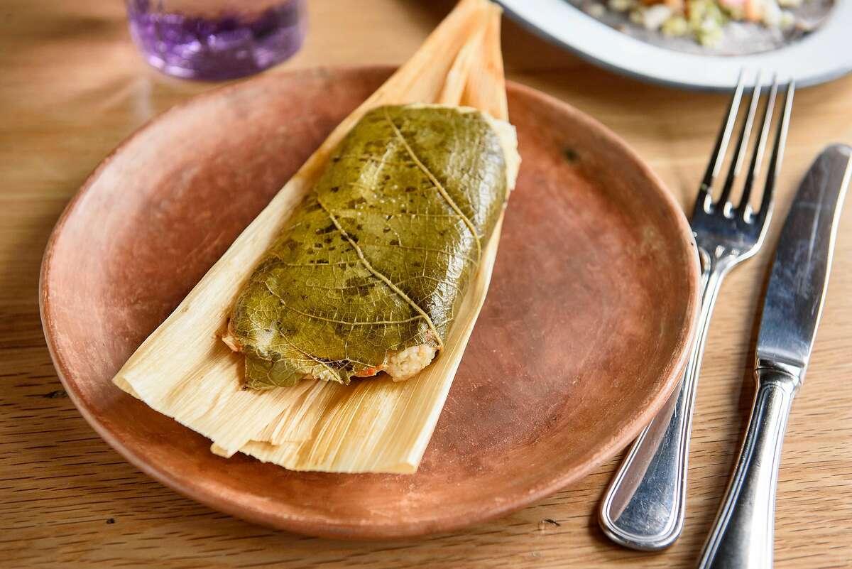 The Tamal de Pollo: chicken tamal in mole amarillo, at La Calenda restaurant in Yountville, Calif., on Wednesday February 27, 2019.