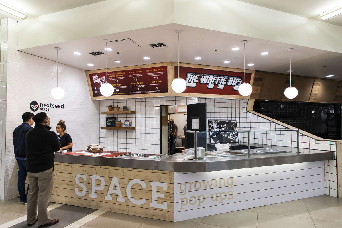 The Waffle Bus opened in a NextSeed Space in Greenway Plaza's food court called the Hub.