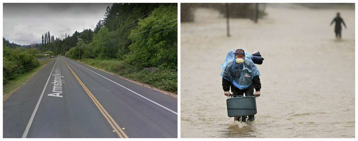 Armstrong Woods Road, Guerneville Left: The road in 2016 without flooding Right: Residents of Armstrong Woods Road evacuate as the water rises north of Guerneville Feb. 26, 2019. The town of Guerneville and some two dozen other communities are at risk of flooding from the Russian River north of San Francisco, which hit flood stage Tuesday evening and was expected to peak Wednesday morning at more than 46 feet - the highest point in nearly a quarter-century.