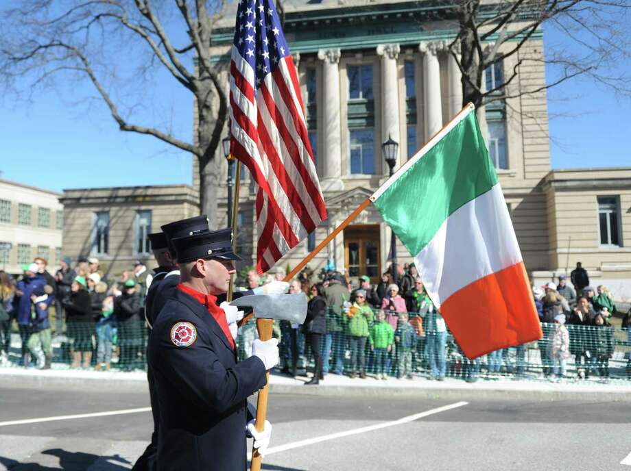 The St. Patrick's Day Parade in Greenwich will step off at 2 p.m. Sunday from Town Hall. This is a scene from the 2018 parade, which is presented annually by the Greenwich Hibernian Association. Photo: File / Tyler Sizemore / Hearst Connecticut Media / Greenwich Time